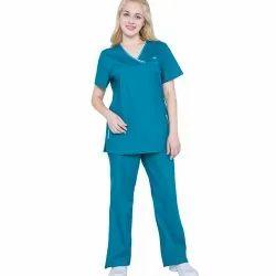 Blue Cotton and Polyester Hospital Nurse Uniform