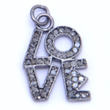 Men Pave Diamond Love Charm 925 Sterling Silver Pendant, Size: 19 X 13 Mm