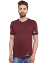 100% Cotton Men Short Sleeve Solid Maroon Round Neck T-shirt