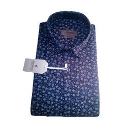 Cotton 40 And 44 Mens Blue Printed Full Sleeves Shirt