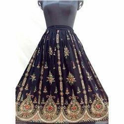 Black Embroidered Long Skirt