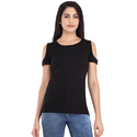 Cottinfab Women's Solid Cold Shoulder Top