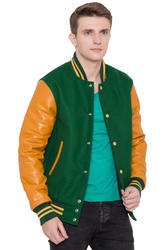 Kelly Green Body Bright Gold Sleeves Knit Collar Varsity - Men''s