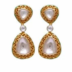 Meena Moissanite Polki Gold Plated Silver Earring