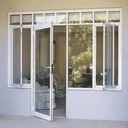 White (frame Color) Aluminium UPVC Glass Door Window, For Home
