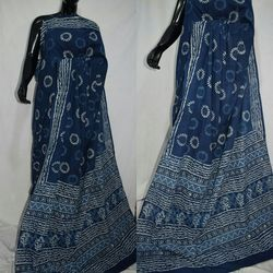 Indigo Cotton Saree