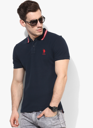 42b86699bdfb U.S. Polo Assn. Navy Blue Solid Slim Fit Polo T-Shirt at Rs 999 ...