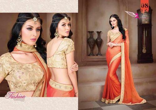 491f4279c05c41 Chiffon Border Pink Designer Saree With Heavy Blouse, Rs 1195 /piece ...