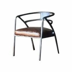 Leather Custamised Round Backed Iron Cafe Chair, Size: L19xw20xh32