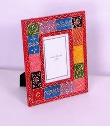 Wooden Brown White Metal Photo Frame, For Gift