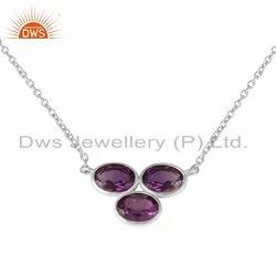 Natural Amethyst Gemstone Sterling Fine Silver Necklace