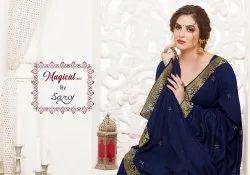 Plain black Magical Vol 2 Saroj Saree, With blouse piece