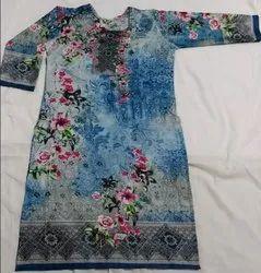 Formal Wear Regular 100% Cotton printed kurti, Handwash