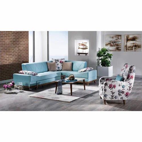 L Shape Printed Sofa Set