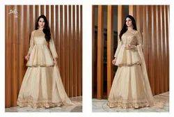 Multicolor Georgette Ladies Wedding Suits, Dry clean