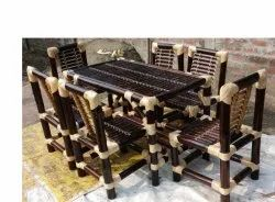 1 Table, 6 Chair Brown, Wooden Bamboo Dining Table Set