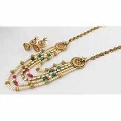 Coppar Goldan Designer Pearl Necklace, Plastic Pack