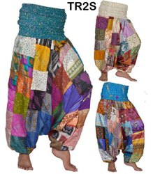 Vintage Silk Blend Alibaba Harem Patchwork Pants Boho Gypsy Trousers TR2S