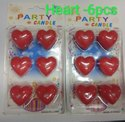 Heart Shaped Birthday Candle (6 Pcs Pac)