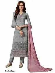 Georgette Wedding Wear Grey Color Beautiful Salwar Kameez