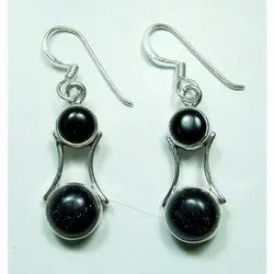 Black Onyx 925 Sterling Silver Well Carved Earrings