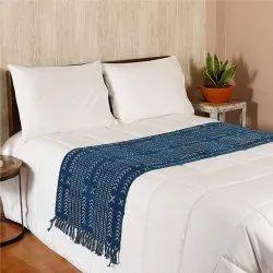 Printed Rectangular Area Rug Cotton Hand Woven Indigo Runner Rug, For Home