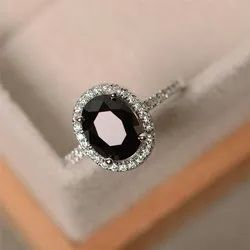 Black Gemstone Diamond  Ring