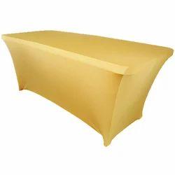 Polyester Blended Rectangular Golden Hotel Table Linen