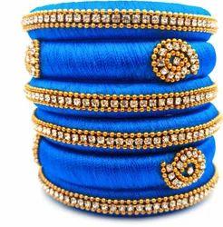 Blue Handmade Silk Thread Bangles Set