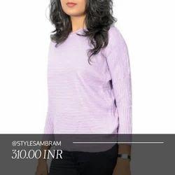 Style U Light Purple Color Woolen Top