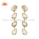 Dws Party Gold Plated 925 Silver Crystal Quartz Gemstone Dangle Earring Jewelry, Size: 47 X 8 Mm