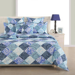 Swayam Blue and Grey Colour Floral and Check Print Cotton Bed Sheet with Pillow Covers