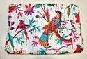 Chirping Bird Printed Kantha Bedspread