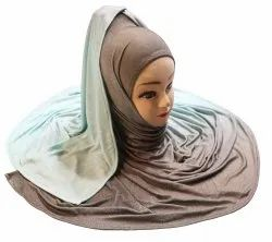 Blue Color Occasion Wear 2 Shade Soft Jersey Stretchable Hijab Scarf Dupatta