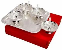 Silver Plated Bowls Set with Tray