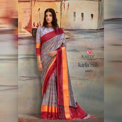 Rajtex Karla Silk Printed Saree, Packaging: Box