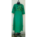 Green Tassels Embroidered Kurti