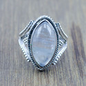 925 STERLING SILVER LIGHT WEIGHT JEWELRY RAINBOW MOONSTONE RING WR-5246