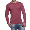 Mens Melange Henley Full Sleeve T-Shirt