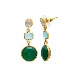Multi Gemstone Drop Earring
