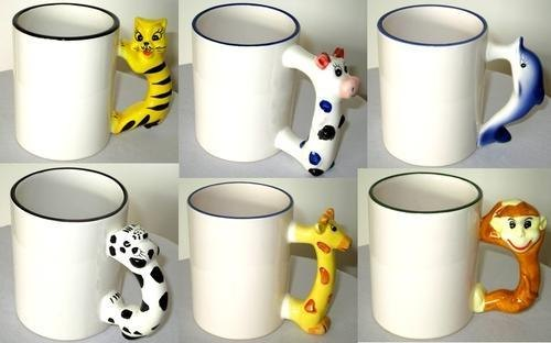 ThePrint Platter Plain Sublimation Animal Handle Mugs