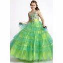 Green & Silver Net Kids Designer Gown