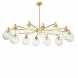 Round LED Brass Chandelier