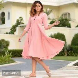 Ladies Light Pink Cotton Kurti