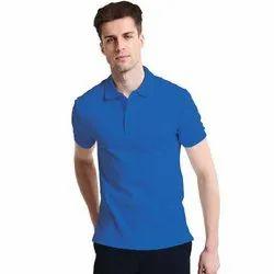 Cotton Blue Mens Polo T Shirt