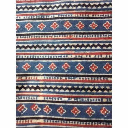Ajrakh Printed Cotton Fabric for Garments, GSM: 100-150 GSM