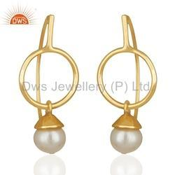 Gold Plated 925 Silver Pearl Gemstone Earrings