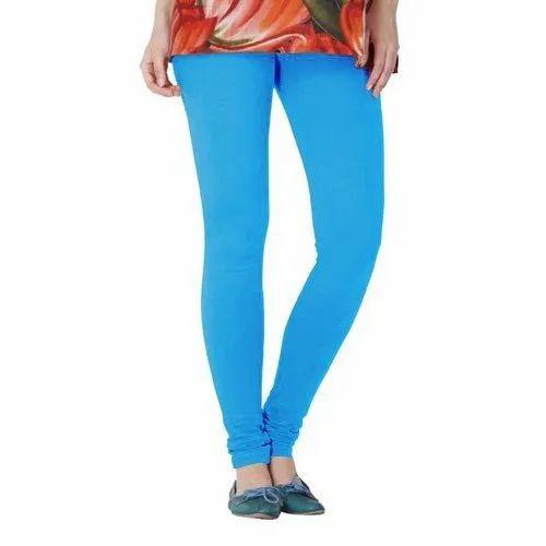 Churidar Plain Ladies Blue Cotton Legging