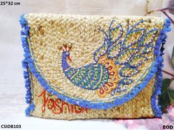 CS international Multicolor Peacock Embroidered Jute Bag