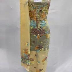 Organza Dress Material, Kurta And Dupatta, Chikankari, Fine Embroidery, Multiple Colours